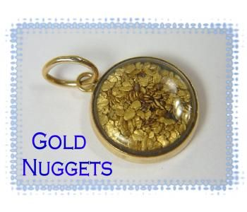 14K & 24K Gold ~ Natural Pure Gold Flakes & Nugget Pendant ~ Pure Encased Gold Nuggets - FREE SHIPPING $199