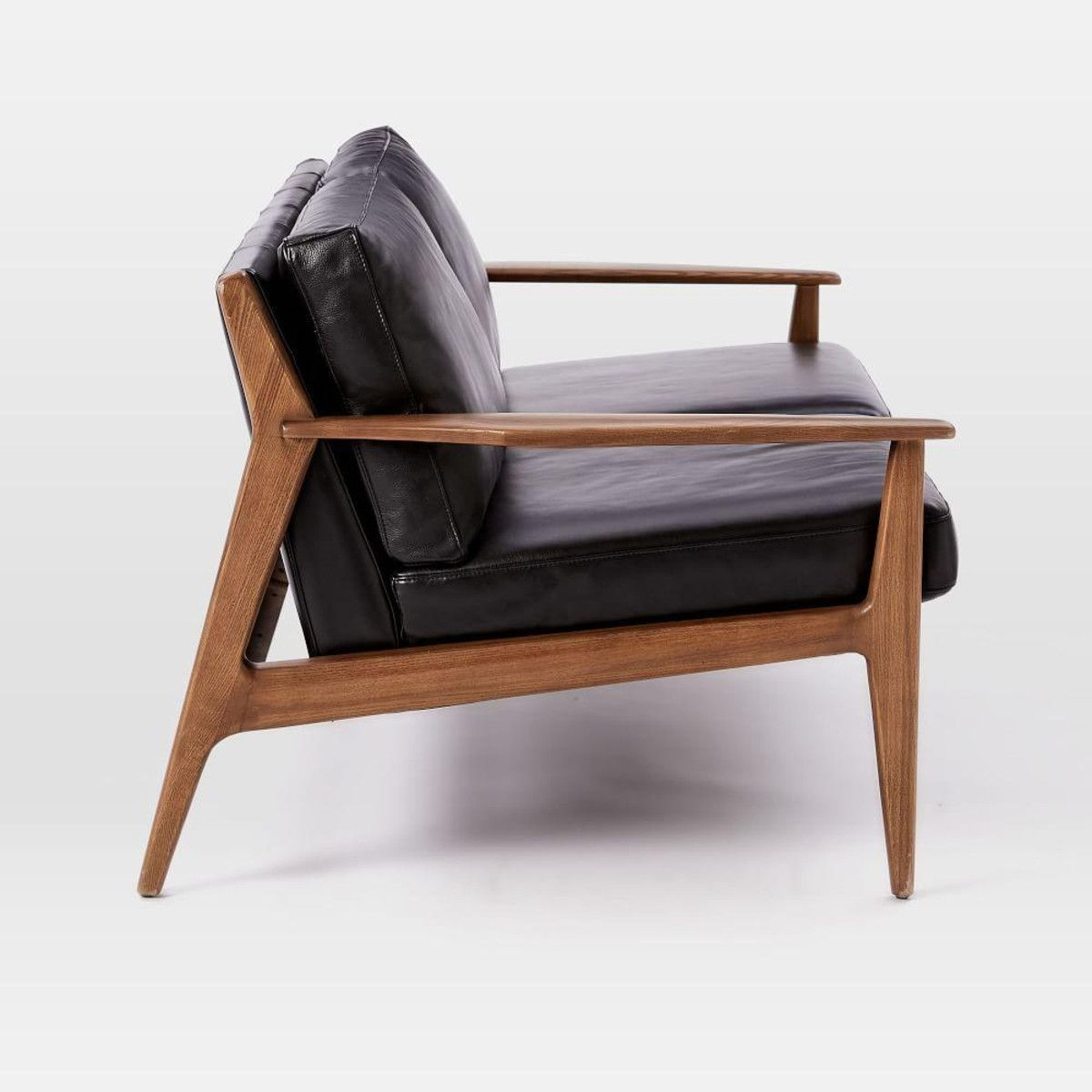 mathias mid century wood frame leather loveseat 168 cm - Wood Frame Loveseat