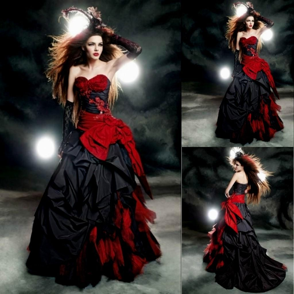 Popular Plus Size Gothic Wedding Gowns Buy Cheap Plus Size: Wedding Dresses 2019 Vintage Black And Red Gothic Modest