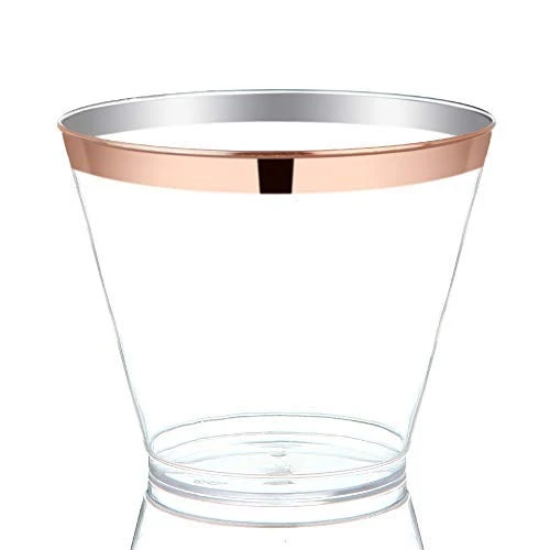 Rose Gold Rimmed Disposable Cups In 2020 Wedding Plastic Cups Wedding Cups Plastic Cups