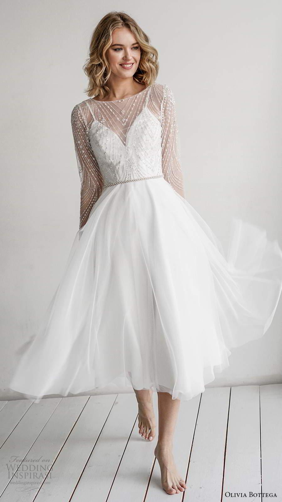 Olivia Bottega 2021 Wedding Dresses Wedding Inspirasi Modern Bridal Dress Short Wedding Gowns Knee Length Wedding Dress [ 1600 x 900 Pixel ]
