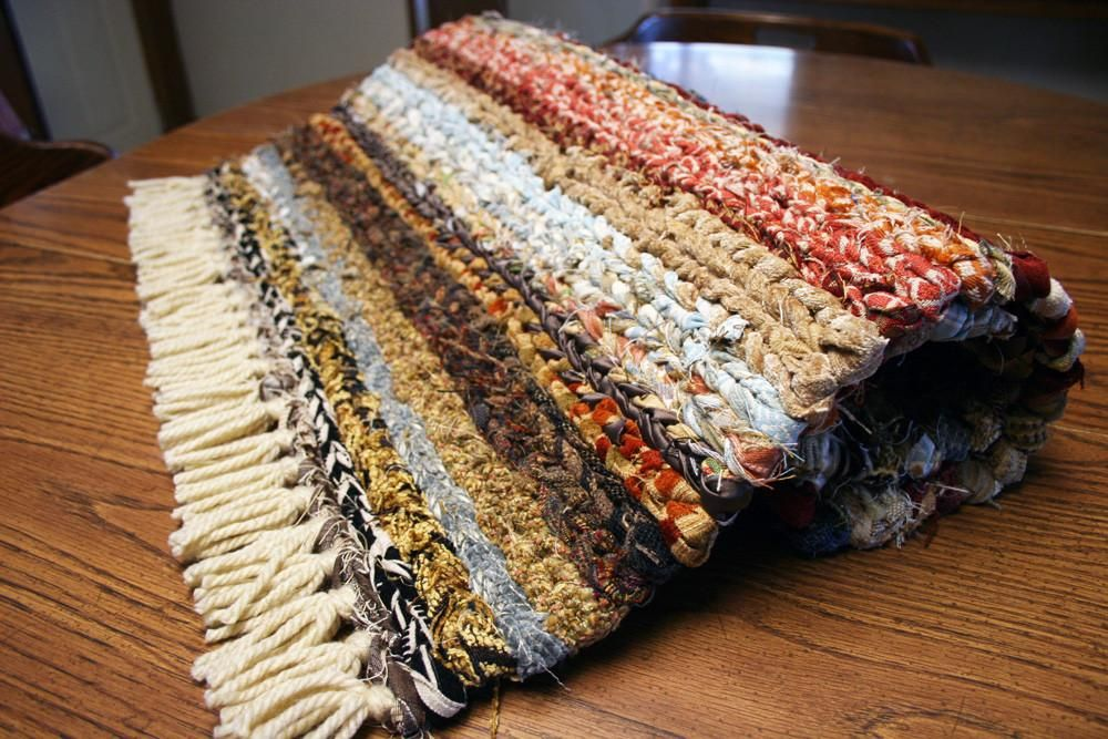 Country Farmhouse Kitchen Twined Area Rag Rug With Fringe