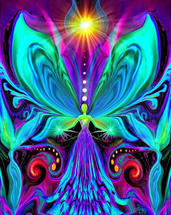 Rainbow Psychedelic Angel Chakra Art Print by primalpainter
