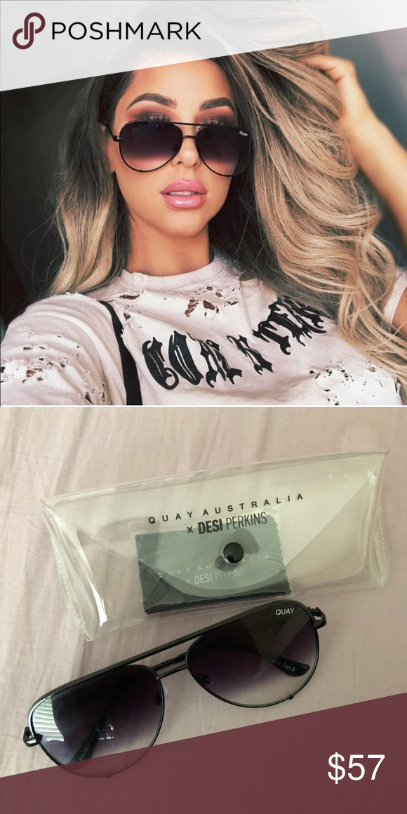 """bd9dbd28a531 Quay x Desi high key sunglasses Quay Australia x desi perkins high keys in """"black  fade"""". Comes with case and dust cloth. In mint condition."""