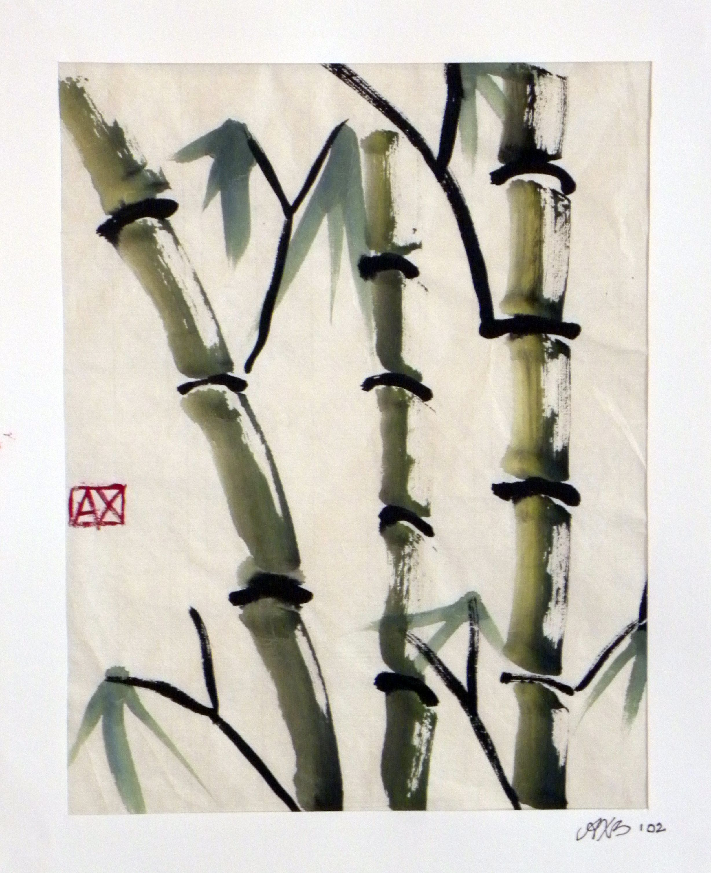 Bamboo Stalk Chinese Watercolor On Rice Paper Copyright 2012