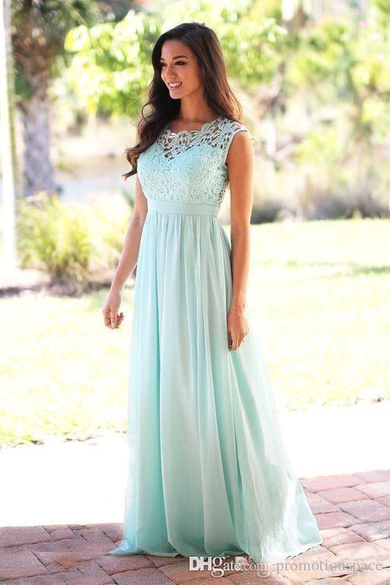 2019 Cheap Coral Mint Green Long Junior Bridesmaid Dress Lace ... 13d89281680d