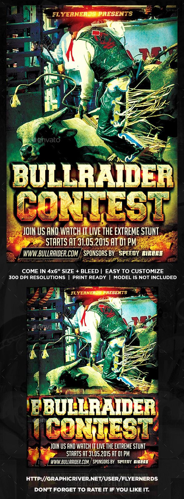 Bull Rider Cowboy Competition Sports Flyer