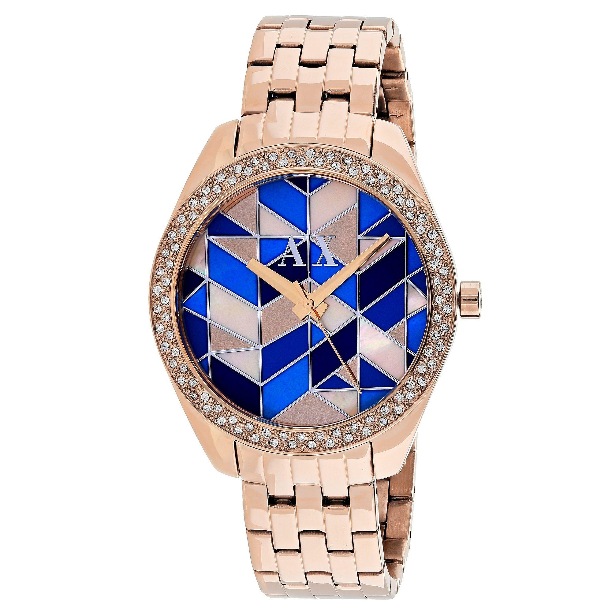 b4881687912 Armani Exchange Women s AX5528 Serena Round Silver Bracelet Watch Relógios  Femininos