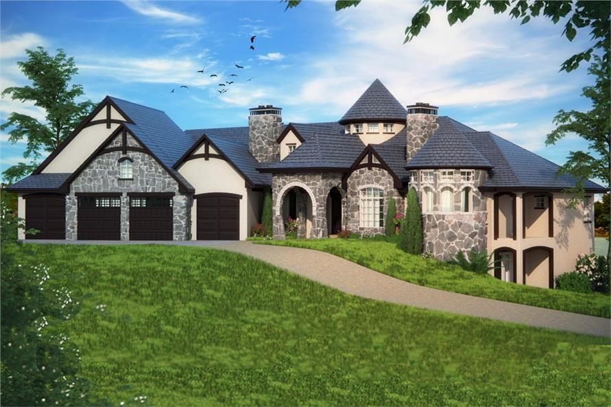 Front Elevation Of Tudor Castle Home Luxury At Its Best