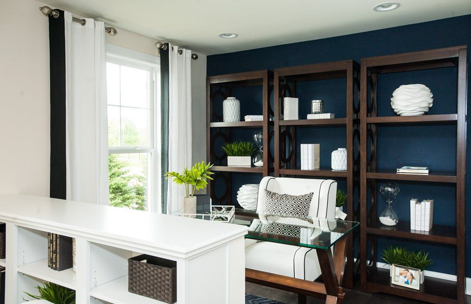 Transitional Home Office With Carpet Built In Bookshelf High Ceiling Verona Six Shelf Bookcase 1793 01 Chair Cloud Nine SW 6546 Rainstorm 6230 Useful