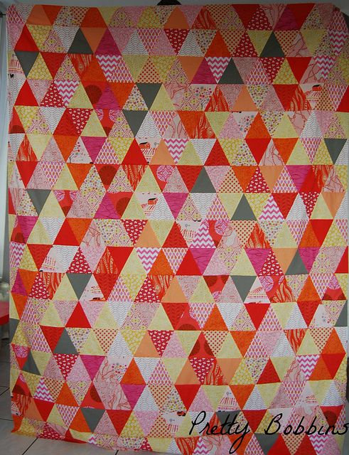 triangle quilt top finished by Pretty Bobbins, via Flickr