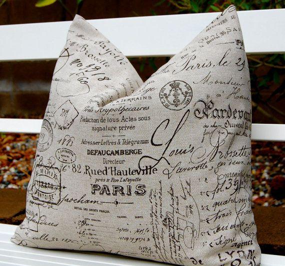 Paris French Script Linen Pillow Covers French Pillows Cushion