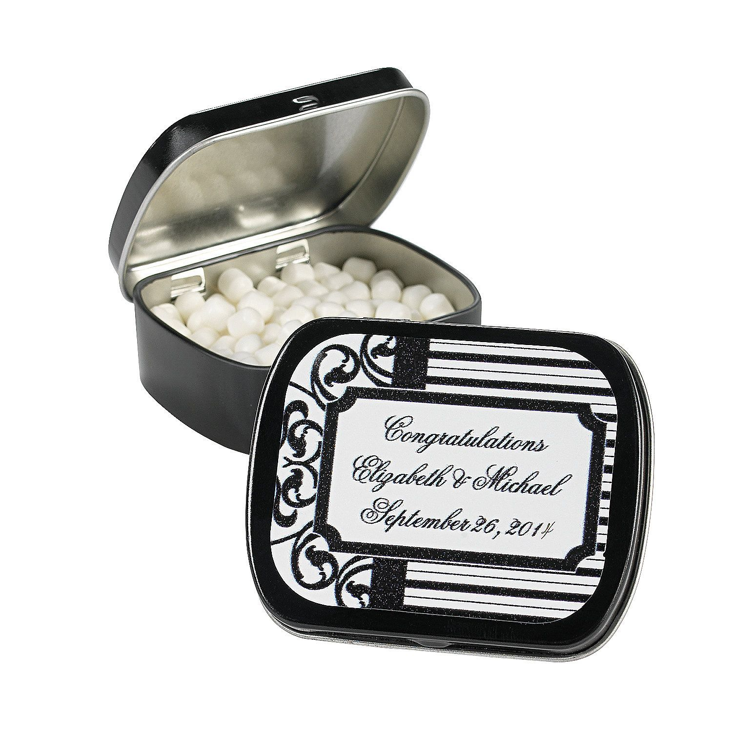 Personalized Black & White Mint Tins - OrientalTrading.com | My ...