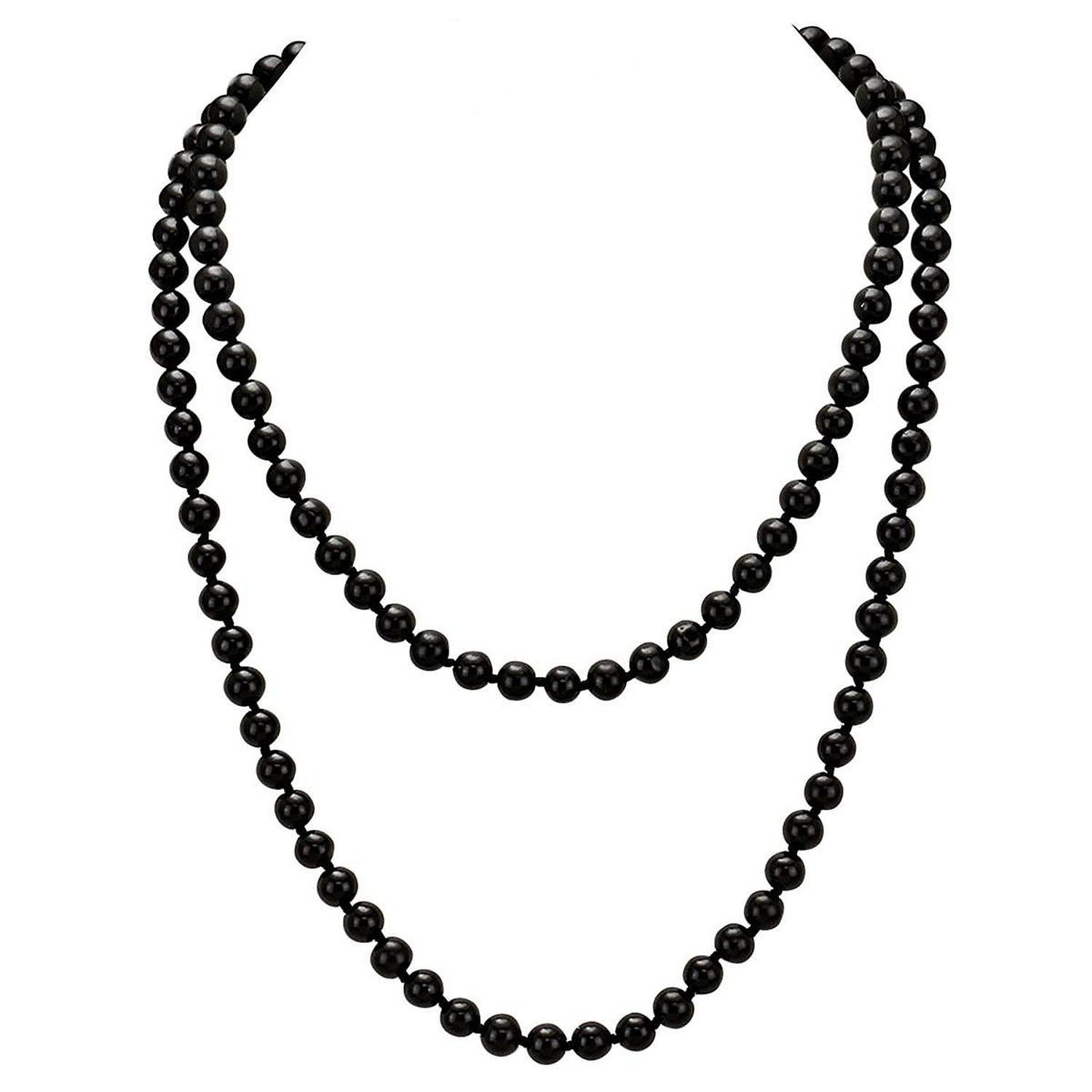 necklace statement pearl knotted black faux strand simple pin