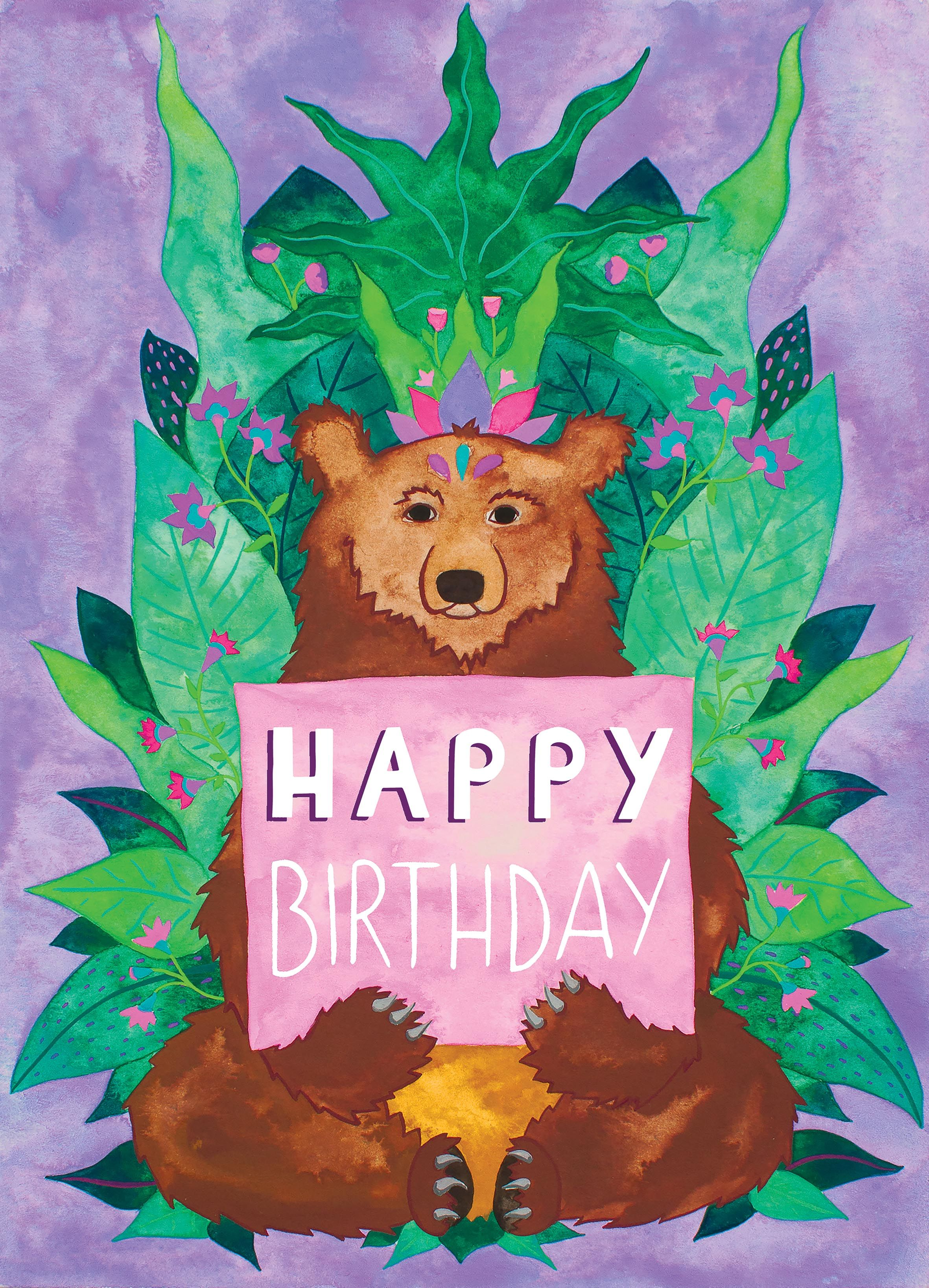 Happy birthday bear illustration greetings card brown bear jungle