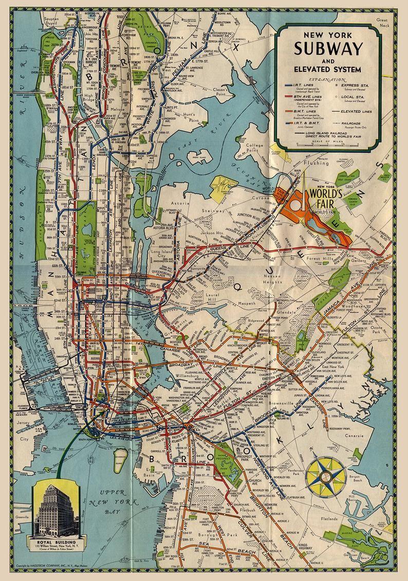 Vintage Style Print Of New York City Subway Map On Premium Luster