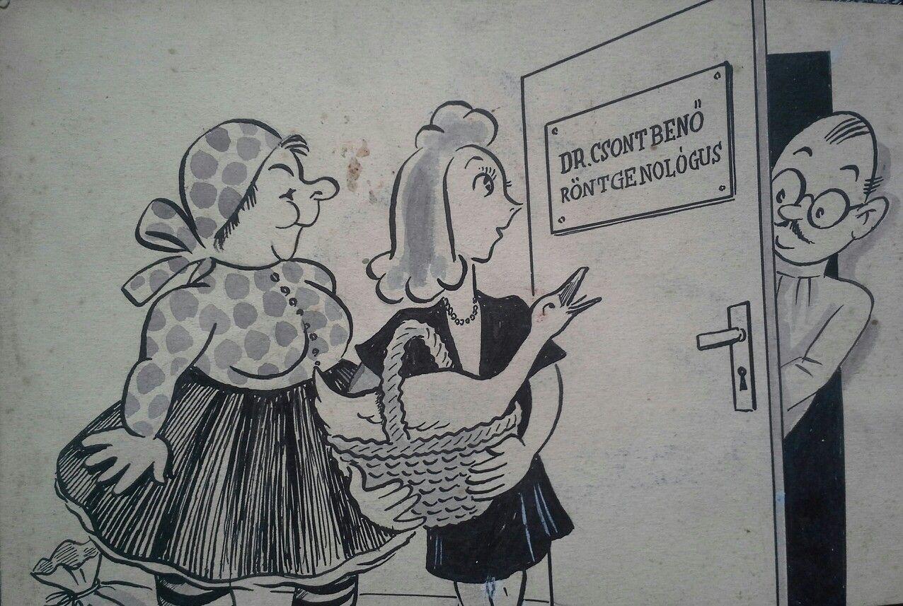 Ismeretlen művész - Karikatúra.Tus,papír Mihály Gyűjtemény