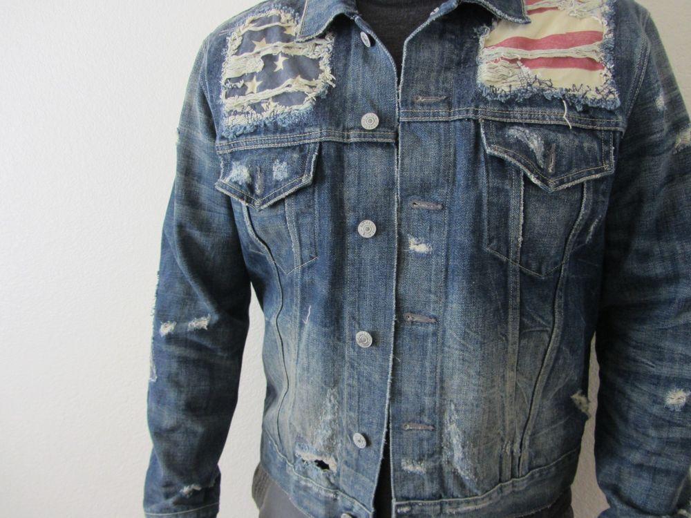 Men's Ralph Lauren Denim and Supply flag Jean Jacket size XL New 185$ retail - Men's Ralph Lauren Denim And Supply Flag Jean Jacket Size XL New