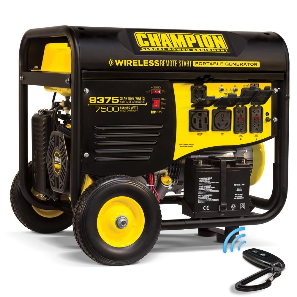 7 500 Watt Gasoline Ed Wireless Remote Start Portable Generator With Champion 439cc Engine