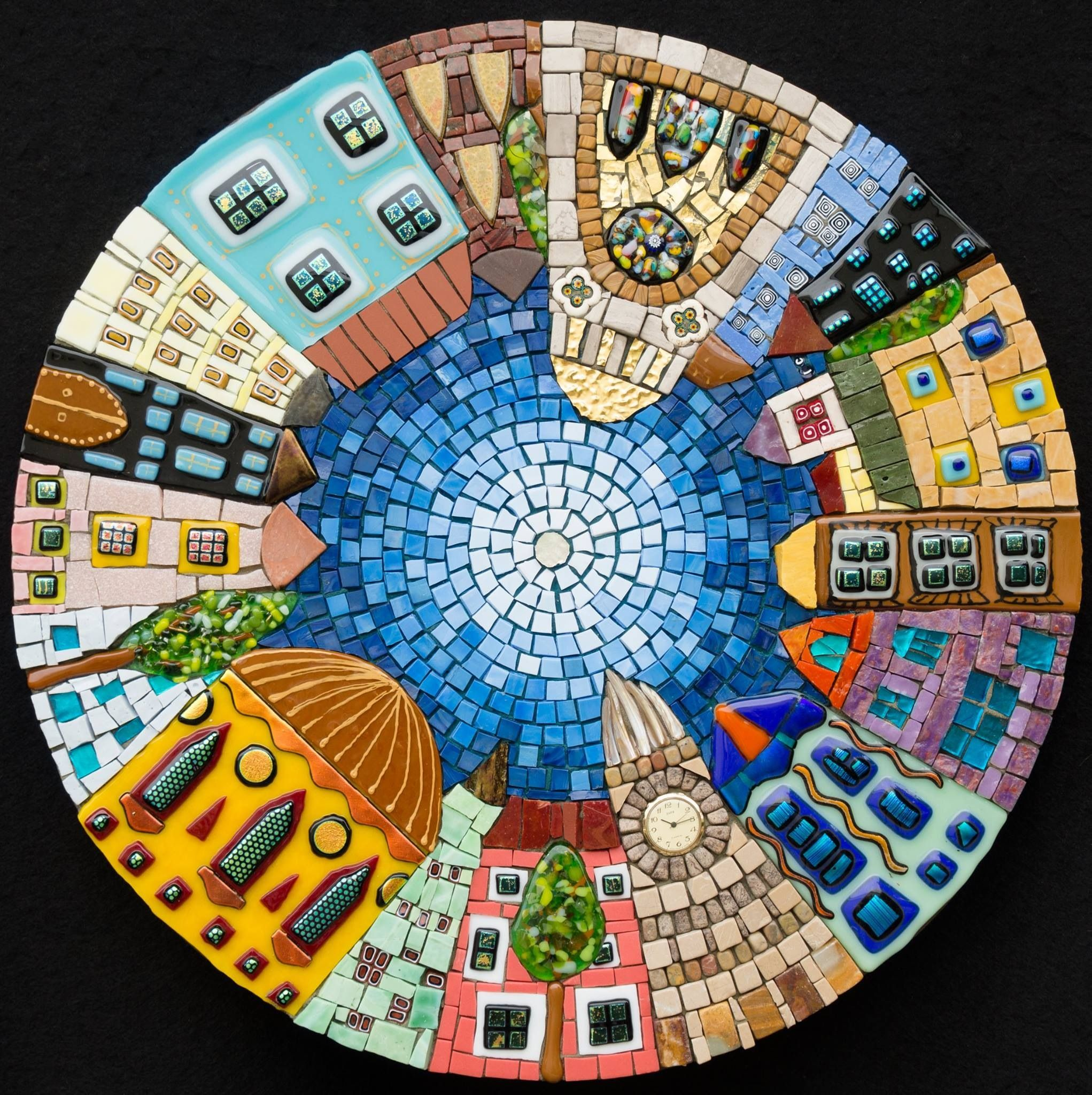 Table Mosaic Patterns: Mosaic Table Top With Cute View Of The Town, By Irina