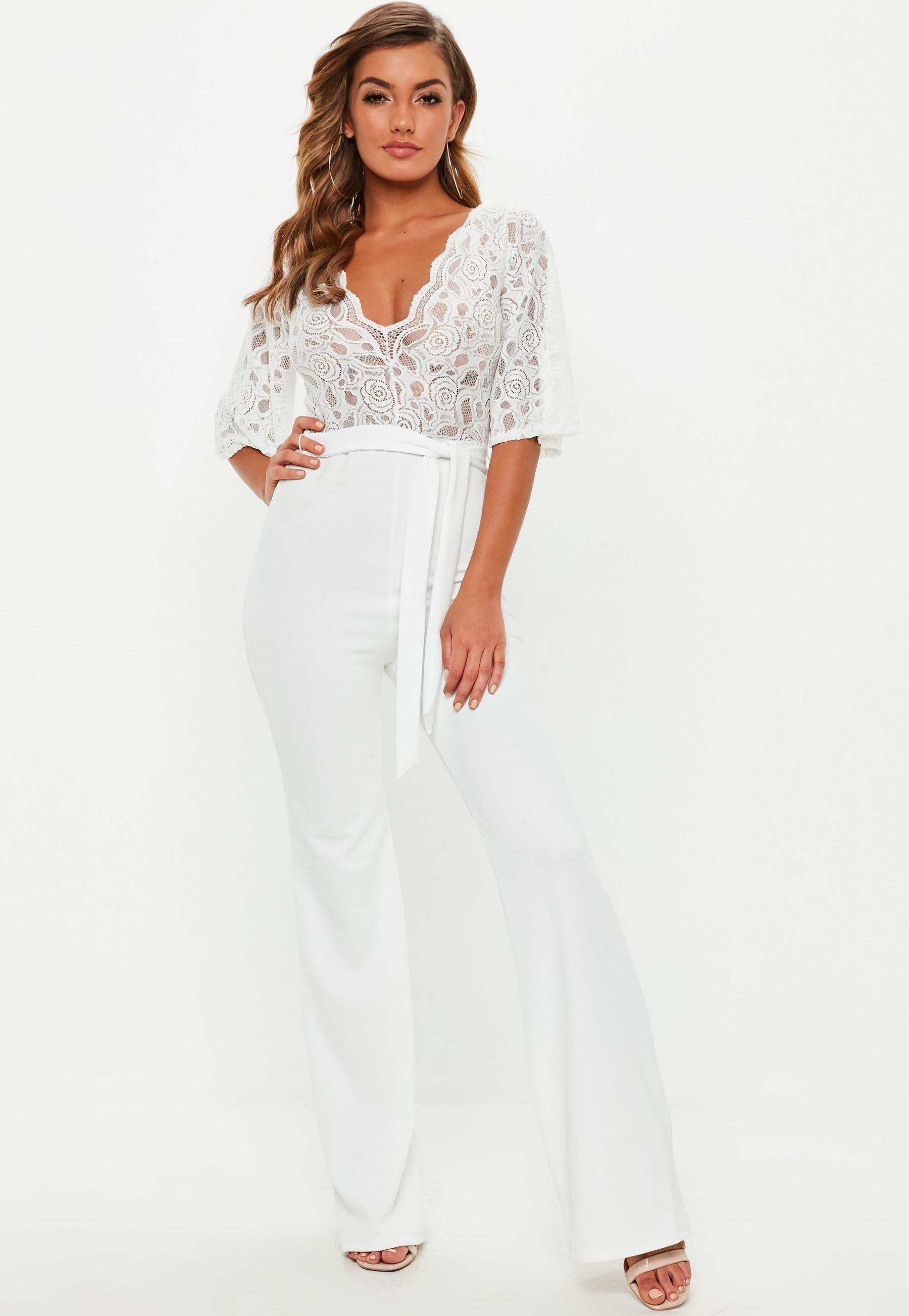 99b9690d593 White Lace Plunge Kimono Sleeve Jumpsuit