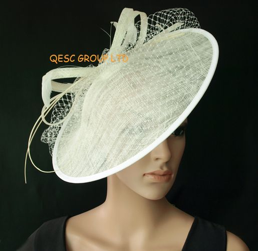 Cream Sinamay Hat Fascinator W Feathers Veiling Sequin