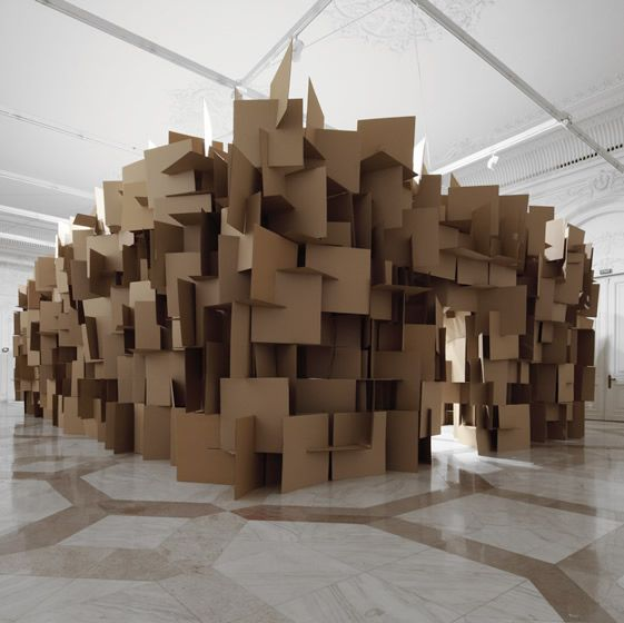 """Now that's what I call rad temporary architecture! Swiss artist Zimoun's incredible cardboard box installation. """"Curated by Rokolectiv Bucharest and exhibited at the Contemporary Art Museum in the Romanian capital is the Zimoun + architect Hannes Zweifel made art installation.""""  --» & there is even more to it, go see for yourself!"""