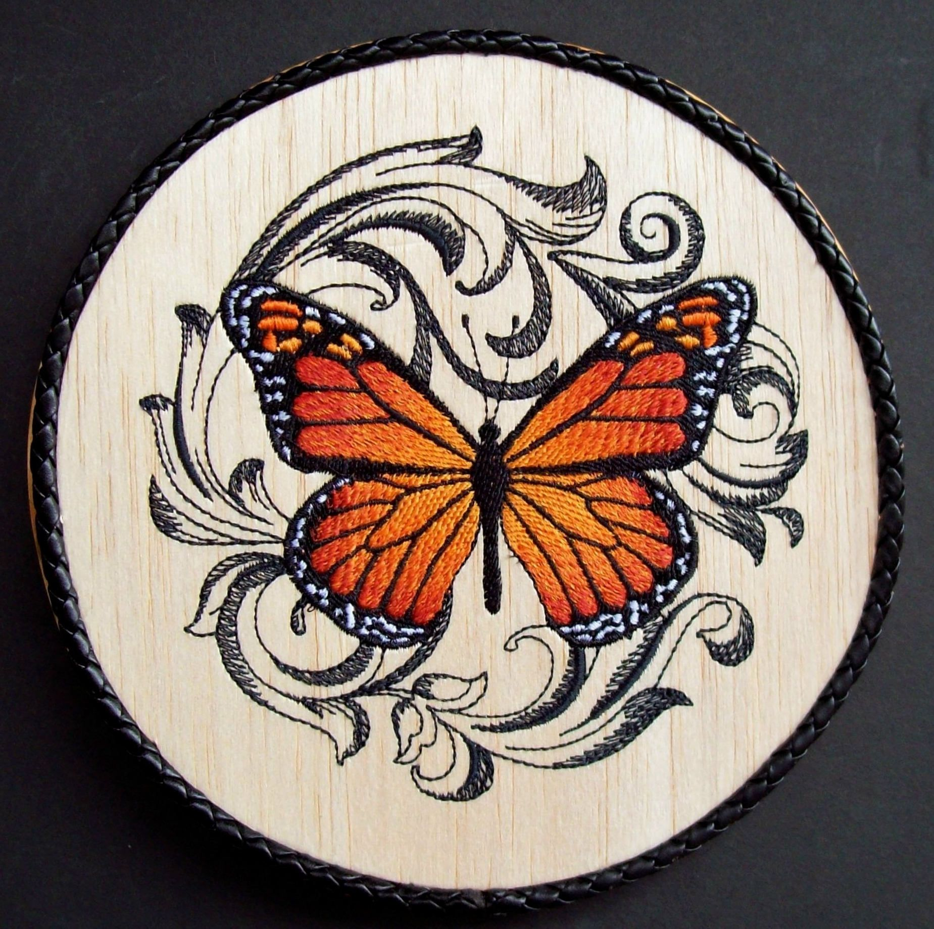 Monarch butterfly embroidery on wood rustic butterfly décor