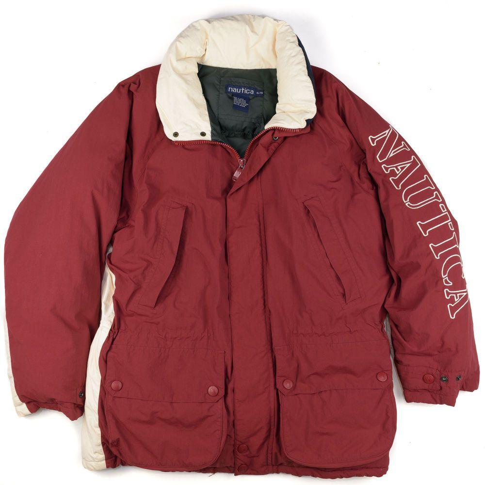 Vintage 90 S Nautica Puffer Coat Ski Jacket Down Color Block Stripe