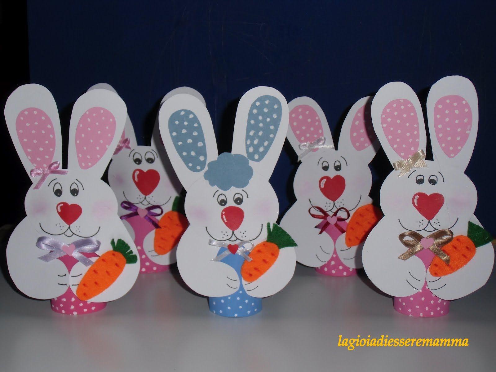 Bambini Pasqua ~ Lavoretto di pasqua coniglietti portauova velka noc
