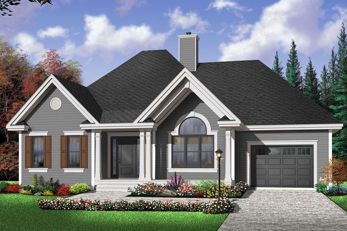 House Plan 034 00672 Traditional Plan 1 186 Square Feet 2 Bedrooms 1 Bathroom In 2020 Cottage Style House Plans Farmhouse Style House Plans Ranch Style House Plans