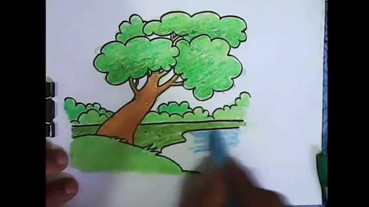 Cara menggambar pohon dengan pemandangan tepi danau yang mudah ...