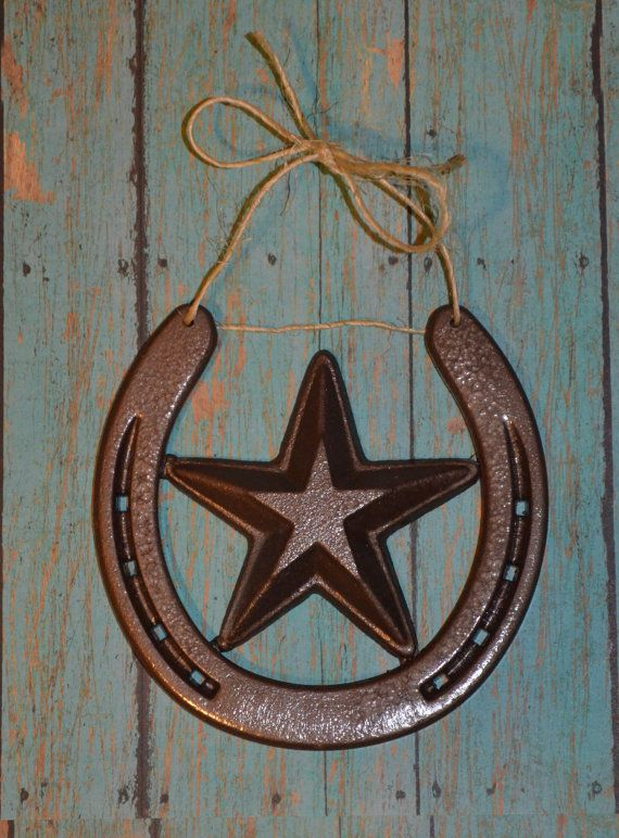 Rustic Horseshoe Wall Hanging With Star By Batesblacksmithing