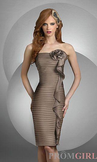 Shirred Strapless Bridesmaid Dress by Bari Jay at PromGirl.com