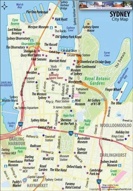 Sydney Australia Map Points of interest cool Places to Visit