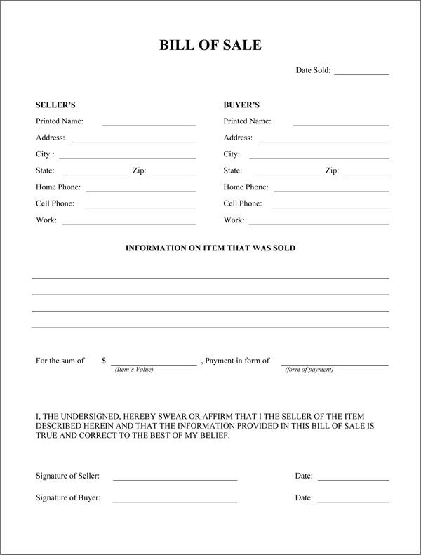 Free Printable Rv Bill of Sale Form Form (GENERIC) Sample - sample firearm bill of sale