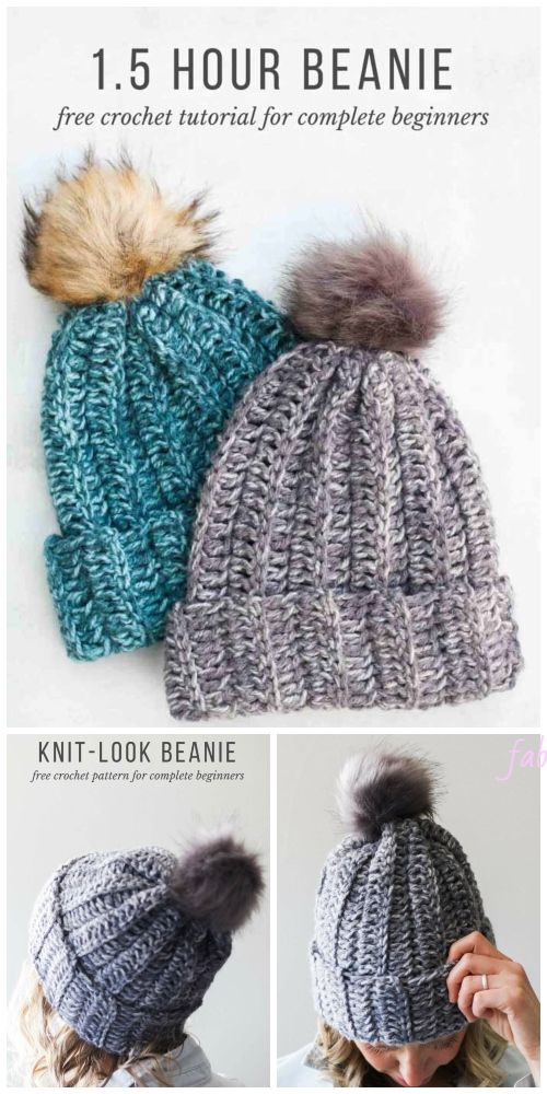 Beginner Easy 1-Hour Crochet Beanie Hat Free Crochet Pattern - All Sizes #menscrochetedhats