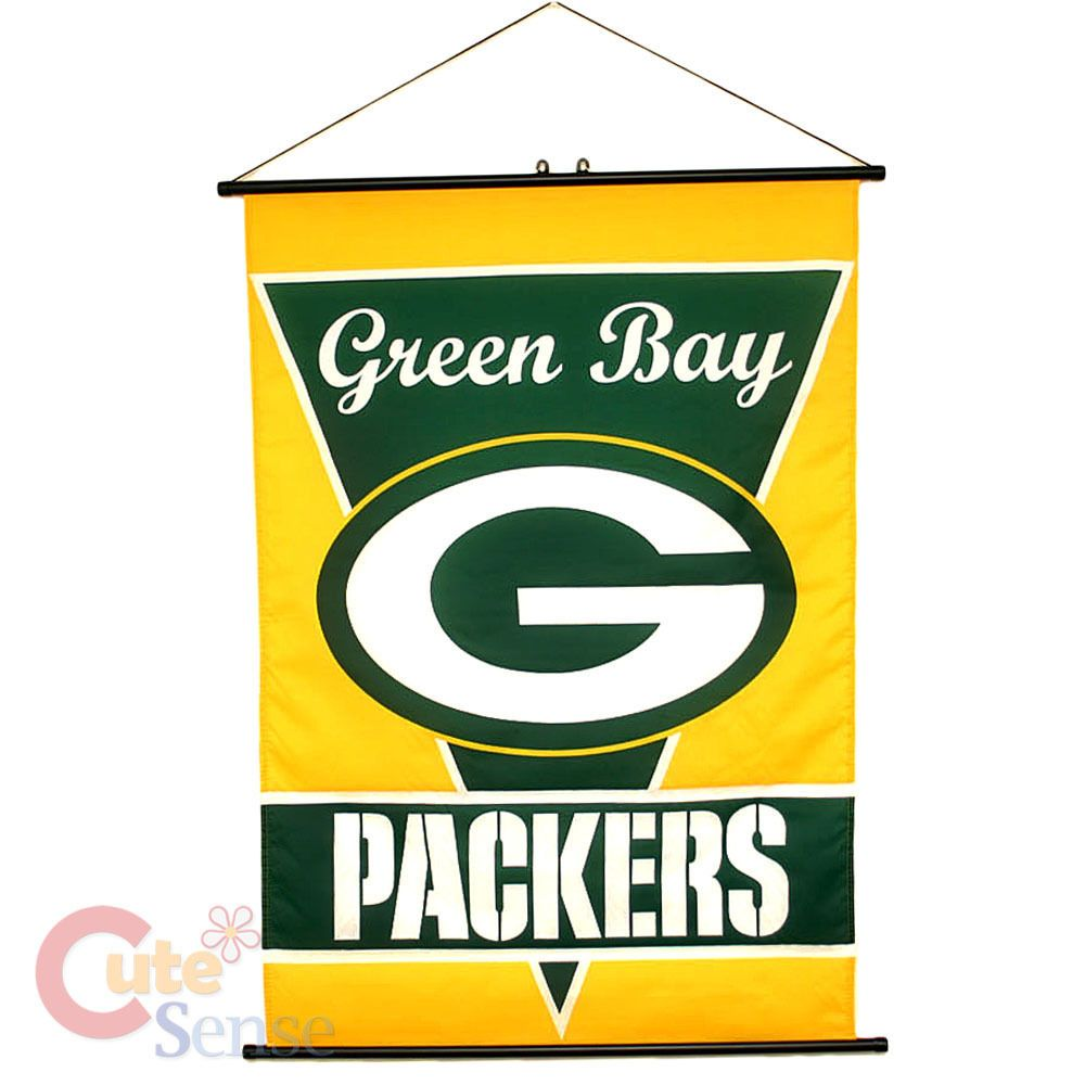 Green Bay Packers Banner Nfl Fabric Wall Scroll 28 X40 Nfl Green Bay Green Bay Packers Fans Green Bay
