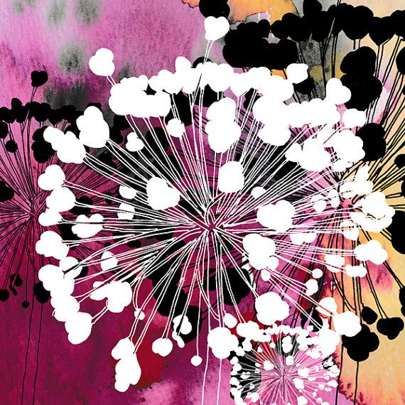 This Allium Print Begins As A Drawing From Allium Seed Heads In My Garden I Then Print Onto Photo Paper Where I Add M Flower Illustration Flower Seeds Flowers