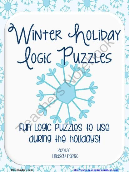 Holiday Logic Puzzles from Beyond the Worksheet on TeachersNotebook ...