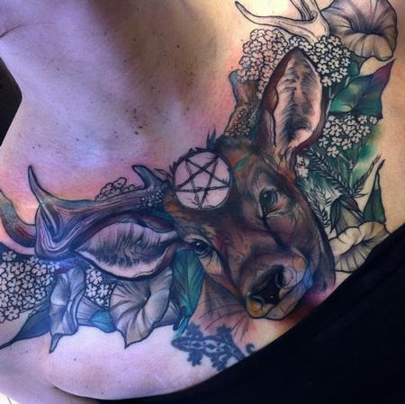 Freddie Albrighton Pentagram Deer Flower Chest Tattoo Tattoos