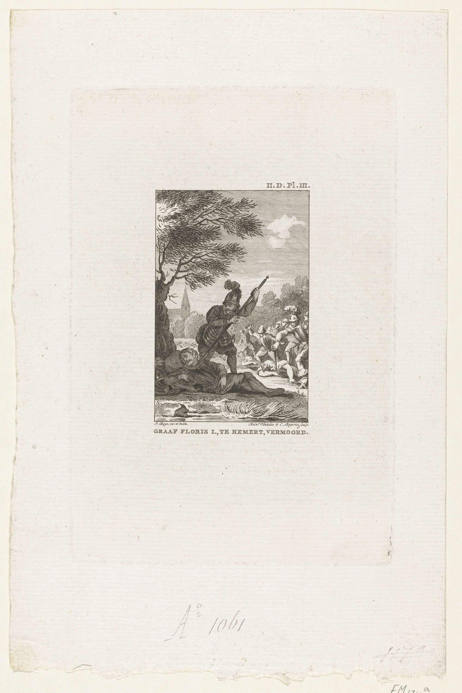 Reinier Vinkeles | Moord op Floris I, 1061, Reinier Vinkeles, Cornelis Bogerts, 1780 - 1795 | Graaf Floris I wordt op 28 juni 1061 te Nederhemert slapend onder een boom vermoord. Bij de prent een tekst in handschrift die de gebeurtenis beschrijft.