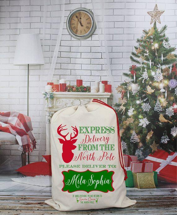 Christmas Eve Gift BagSanta and RudolphPersonalised