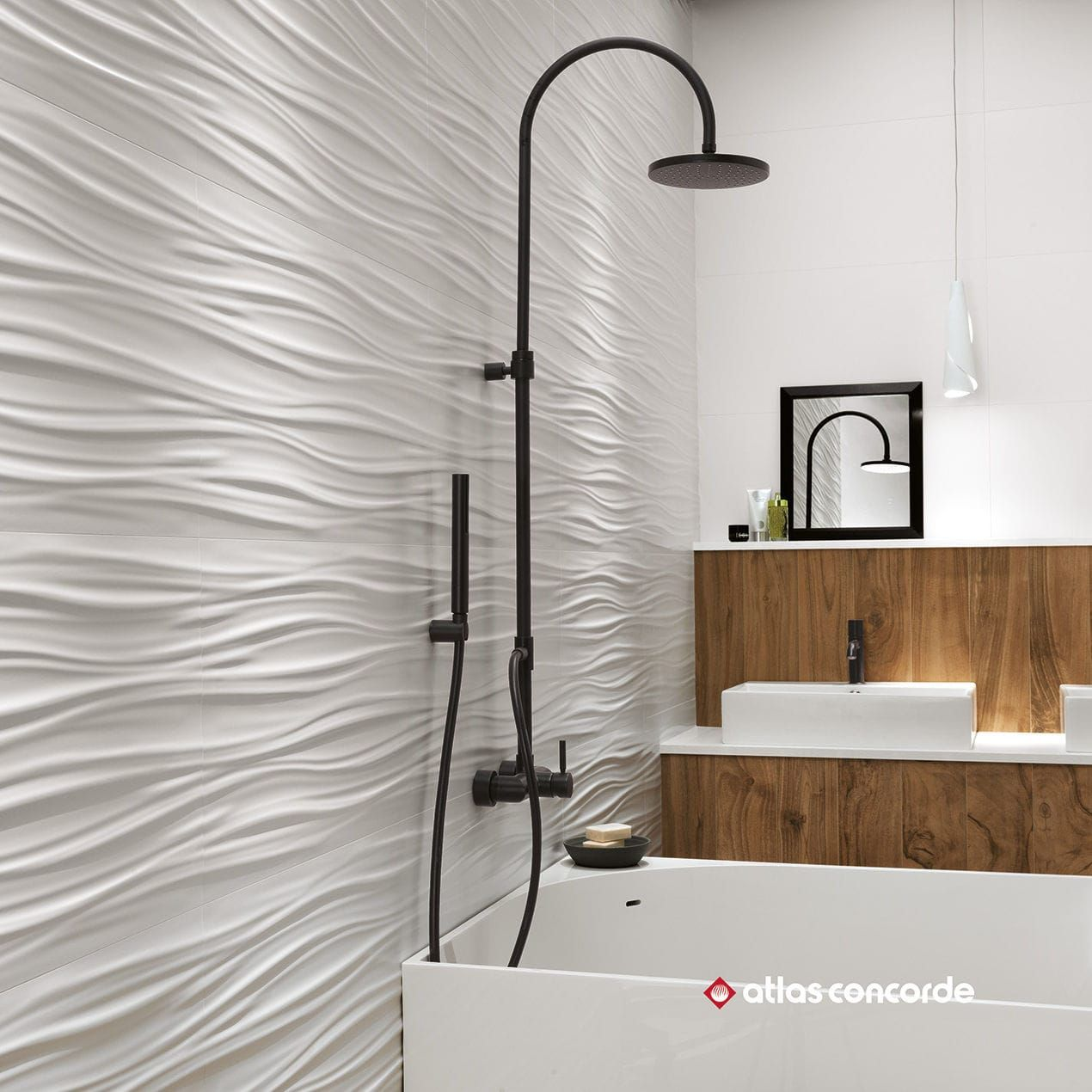Wall-mounted tile / porcelain stoneware / wave pattern / matte 3D ...