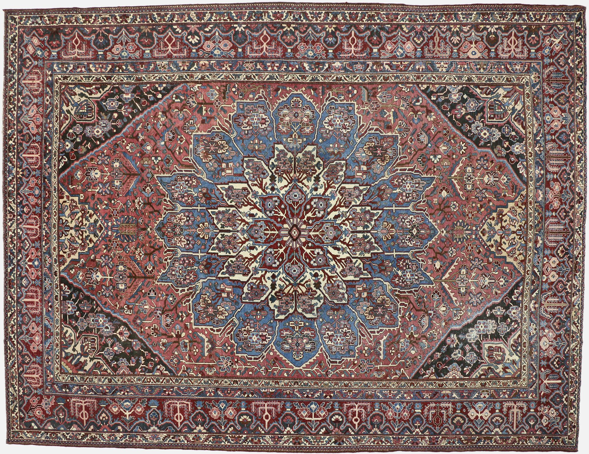 12 X 15 Vintage Persian Bakhtiari Rug 60740 Bakhtiari Rugs Rugs Carpet Handmade