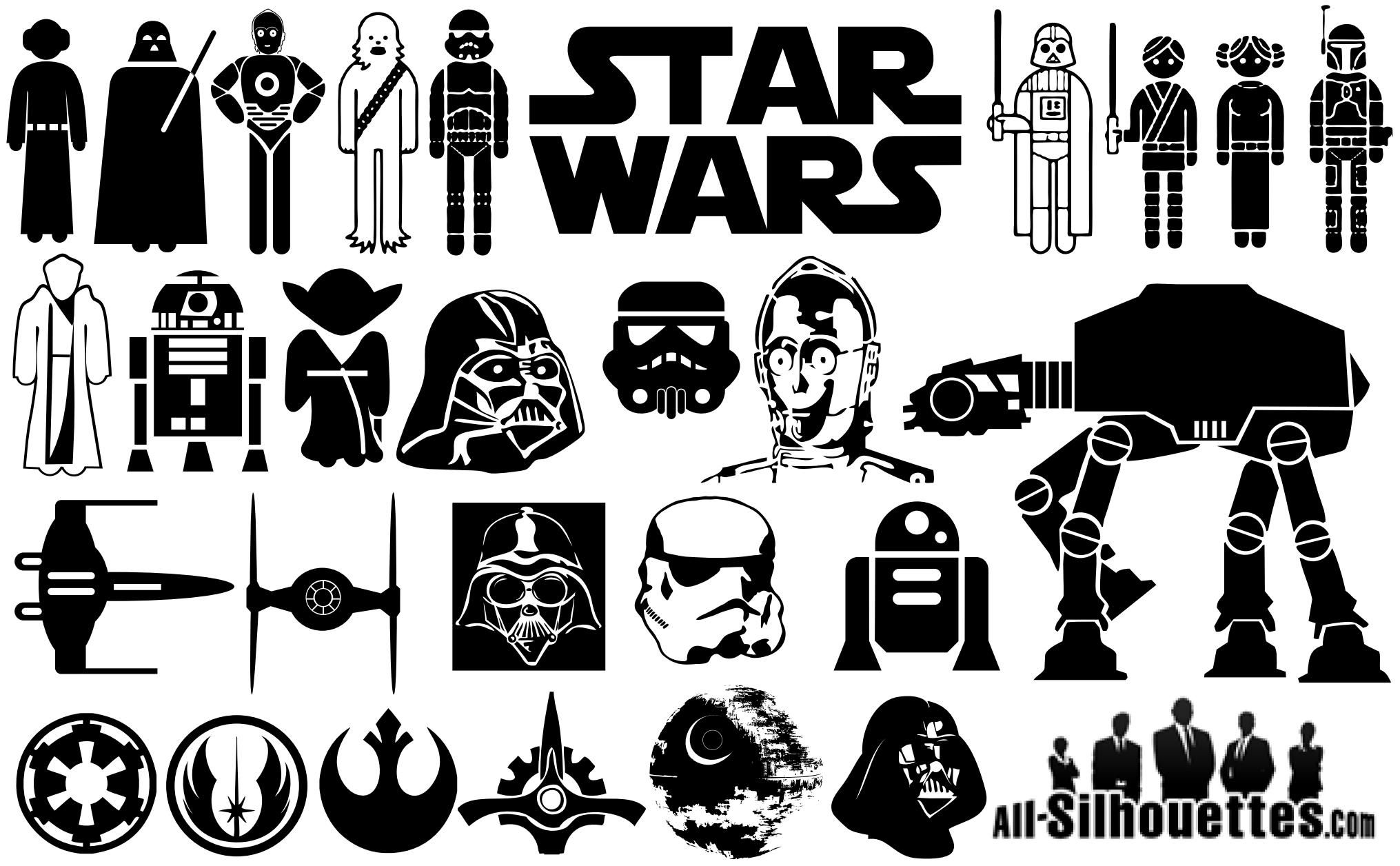 Star Wars Symbol Silhouettes Download Vector Star wars