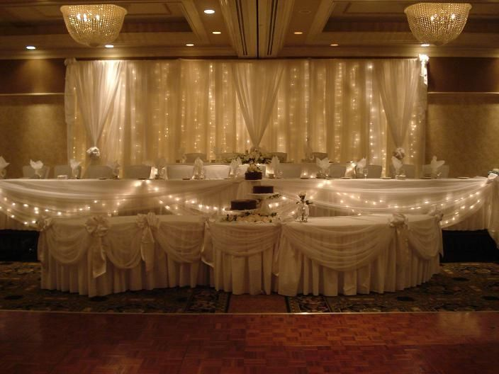 Tiered Wedding Head Table W Lighted Backdrop Serpentine