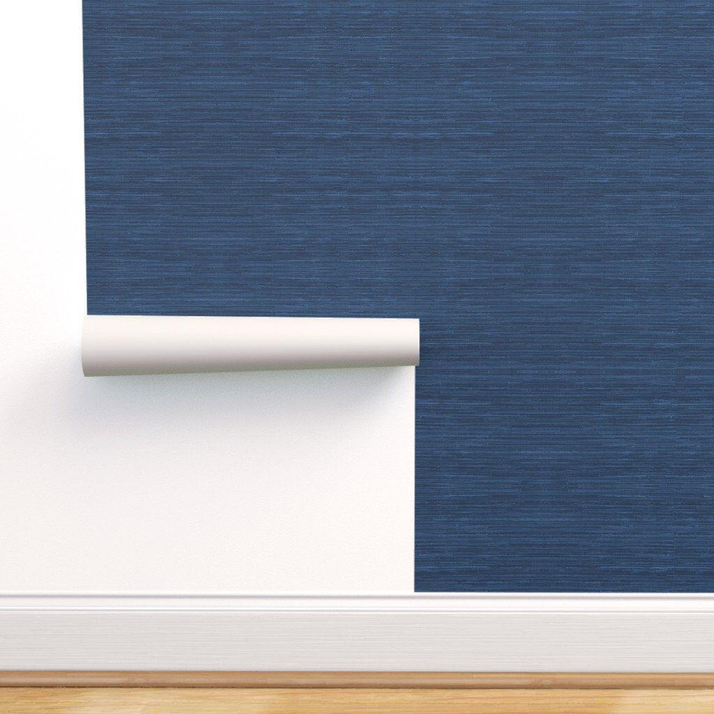 Blue Texture Print Wallpaper Faux Grasscloth Print in