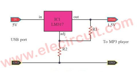 Usb 5v To 1 5v 3v Step Down Converter Circuit Eleccircuit Com Circuit Usb Battery Charger Circuit