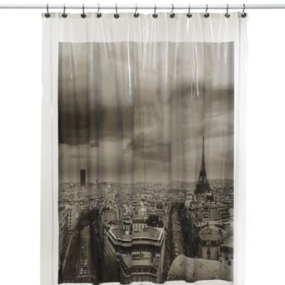Paris Vinyl Shower Curtain Bedbathandbeyond Com Vinyl Shower